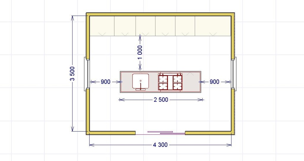 La cucina ad isola lineatre kucita gli esperti dell 39 arredamento - Dimensioni minime cucina bar ...