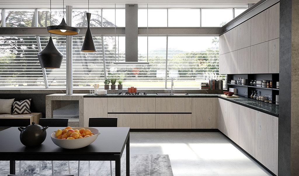 una cucina senza pensili